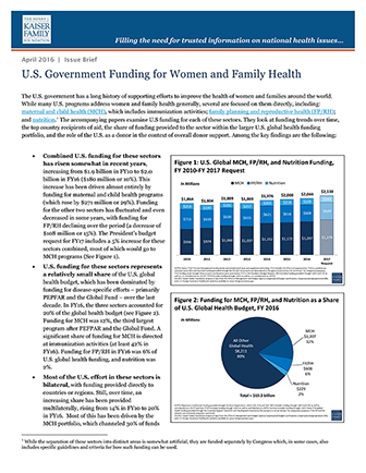 us-government funding for women and family health